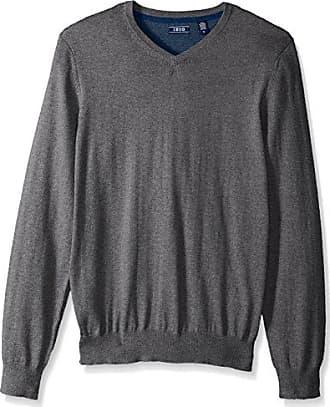 Izod Mens Fine Gauge Solid V-Neck Sweater, Carbon Heather, XX-Large