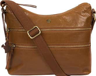Pure Luxuries London Conkca London Georgia Womens 29cm Biodegradable Leather Shoulder Bag with Zip Over Top, 100% Cotton Lining and Adjustable Webbed Canvas Strap in Dark
