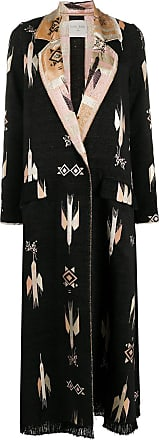 Forte_Forte embroidered single-breasted coat - Black