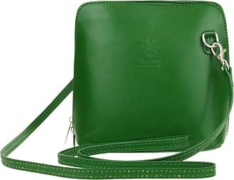 Girly HandBags Girly HandBags Genuine Leather Rigid Cross Body Shoulder Bag Real Italian (Green)