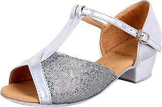 Insun Girls Ballroom Dance Shoes Latin Salsa Performance Shoes Suede Sole Silver 3 12.5 UK Child