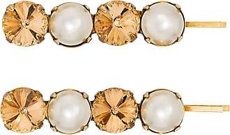 Jennifer Behr Conjunto com 2 presilhas Gallina com cristal e esfera perolada - Dourado