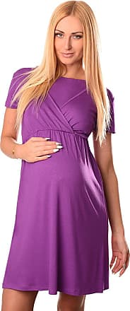 Purpless Maternity 2in1 Pregnancy and Nursing Dress with Short Sleeves and Round Neck 7200 (12, Violet)