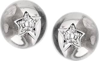 Chanel Comete Rock Crystal Diamond 18k White Gold Stud Earrings
