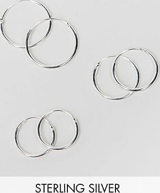 Asos Set da 3 orecchini a cerchio in argento sterling