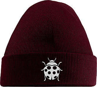 HippoWarehouse Ladybird Embroidered Beanie Hat Maroon