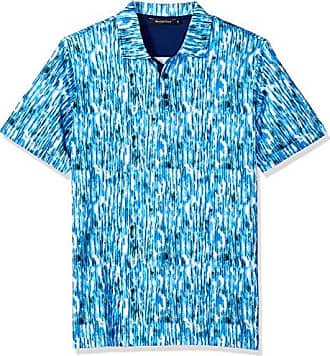 2e8687bcf Bugatchi Mens Soft Finish Trim Fit Watercolor Print Polo Shirt, Classic  Blue, L