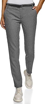 oodji Womens Basic Belted Trousers, Grey, UK 14 / EU 44 / XL