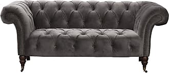 Dekoria Sofa Chesterfield Glamour Velvet Dark Grey 2-Sitzer