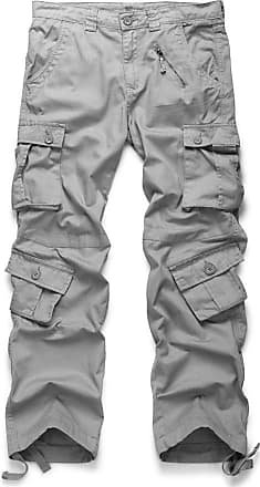 OCHENTA Mens Cotton Casual Military Army Camo Combat Trousers,Wild Cargo Pants with 8 Pockets 3357 Light Grey 32