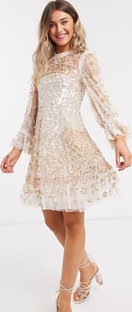 Needle & Thread rose gold embellished mini dress in champagne-Cream