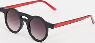 Jeepers Peepers Occhiali da sole rotondi neri e rossi-Nero
