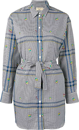 Maison Kitsuné gingham print shirt dress - Blue