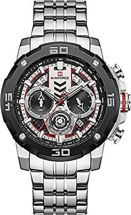 NAVIFORCE Relógio Masculino Naviforce NF9175 SW Pulseira em Aço Inoxidável - Preto e Inox