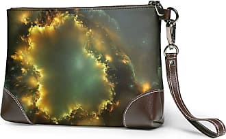 GLGFashion Womens Leather Wristlet Clutch Wallet Abstract Universe Explosion Storage Purse With Strap Zipper Pouch