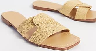 Pimkie rattan flat sandals in natural-Brown