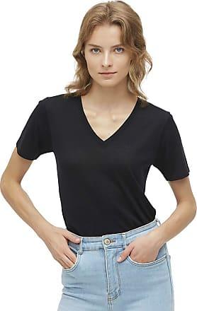 LilySilk V-Neck Silk Knitted Shirt Women Slim Fit Comfy Soft Summer Basic Tee (Black, XL)