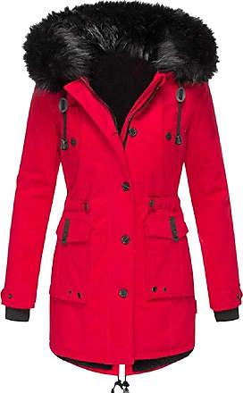 VITryst Womens Winter Coats Hooded Warm Faux Fur Lined Jacket Outwear Parka Anroak Long Coats,Red,XX-Large