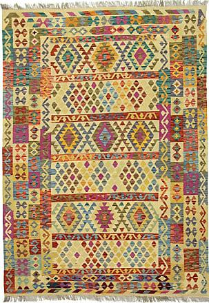 Nain Trading 253x180 Kelim Afghan Olivgrün/Rosa (Wolle, Afghanistan, Handgewebt)