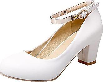 b5711d4356 AgooLar Damen Schließen Zehe Schnalle PU Rein Mittler Absatz Pumps Schuhe,  Weiß, 43