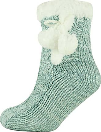 MySocks Ladies Christmas Slipper Socks Knitted Blue