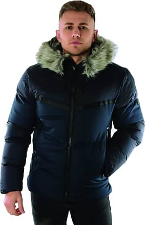 883 Police Buzz Puffer Hooded Fur Navy Jacket M