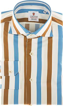 Cordone 1956 Camicia sartoriale Mod. Cotton Big Stripes Azure And Brown - Tessuto cotone - popeline - Colore bianco - Taglia 36