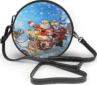 Turfed Womens Round PU Leather Crossbody Satchel Santa Claus Print Shoulder Bag Circle Tote Handbag for Girls