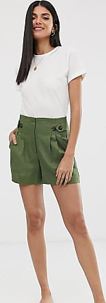 Y.A.S. Tall button detail shorts-Green