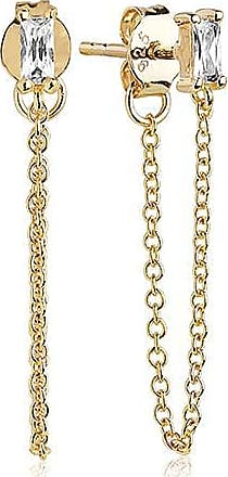 Sif Jakobs Jewellery Earrings Princess Baguette Piccolo Lungo - 18k gold plated with white zirconia