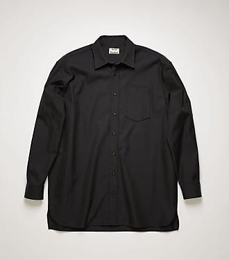 Acne Studios FN-MN-SHIR000190 Schwarz Oversized-Hemd aus Baumwoll-Mix
