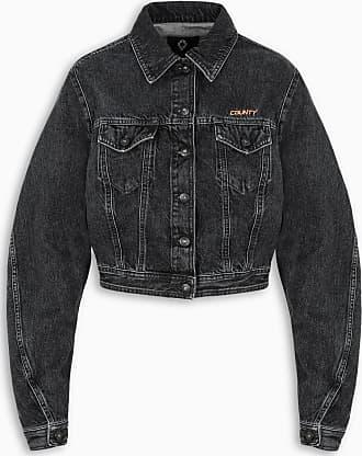 Marcelo Burlon Black cropped denim jacket