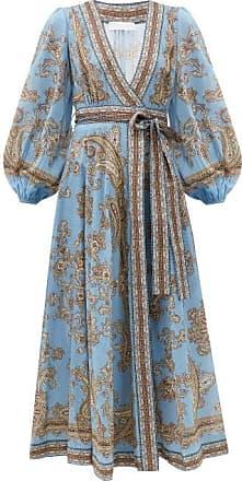 Zimmermann Fiesta Paisley-print Linen Wrap Dress - Womens - Blue Print