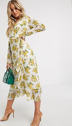 Missguided ruffle hem wrap midi tea dress in floral print-Multi