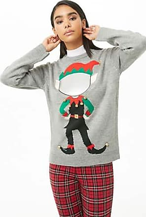 Forever 21 Forever 21 Jingle Bells Christmas Sweater Heather Grey/green