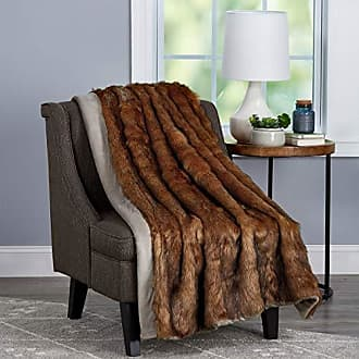 Trademark Lavish Home Collection Throw Luxurious, Soft, Hypoallergenic Premium Chinchilla Fur Blanket with Faux Mink Back and Gift Box, 60x70, Brown