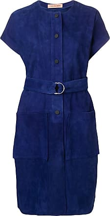 Yves Salomon belted long jacket - Blue