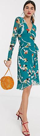 Soaked In Luxury Vestido cruzado de malla con flores de Soaked In Luxury-Multicolor