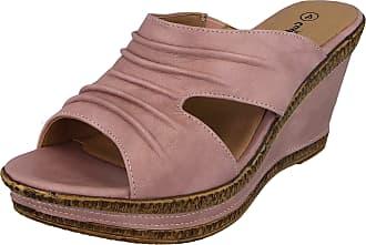 Cushion-Walk Ladies Leather Lined Peep Toe Mid Wedge Heel Slip On Mules Sandals Size 3-8 (5 UK, Pink)