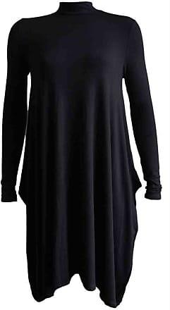 Momo & Ayat Fashions Ladies Lightweight Jersey Turtle Neck Flared Swing Skater Dress UK Size 8-26 (2XL (UK 20-22), Black)