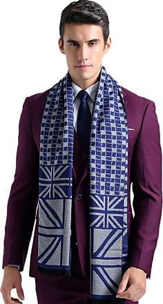 Insun Mens Union Jack Pattern Fringe Winter Cotton Scarf Blue and Grey
