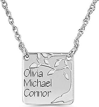 Zales Mothers Engravable Square-Shaped Disc Family Tree Necklace (1-3 Lines)