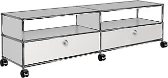 USM TV/Hi-Fi Sideboard mit 2 Schubladen unten - reinweiß RAL 9010/152x37x43cm/mit Rollen