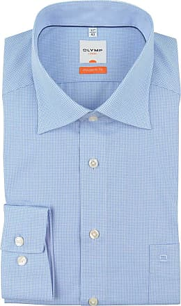 Olymp Mens Olymp Luxuor Modern Fit Micro Check Long Sleeve Shirt - Pale Blue/White - 16