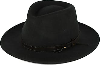 Hat To Socks Black Wool Fedora Hat with Leather Belt Waterproof & Crushable Handmade in Italy