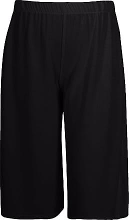 Islander Fashions Womens Elasticated Stretch Print 3/4 Culottes Shorts Ladies Wide Leg Palazzo Black Medium/Large UK 12-14