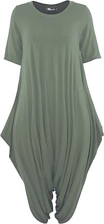 Top Fashion18 Women Short Sleeve Baggy Legenlook Hareem Jumpsuit Dress Khaki