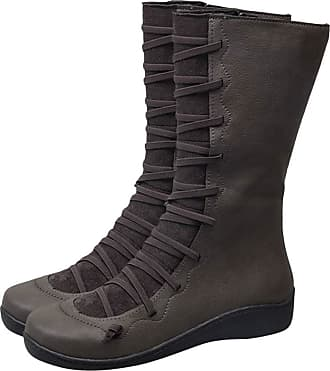 Yvelands 2019 New Arch Support Boots Long Women Ladies Casual Over Knee Combat Boots Waterproof Boots for Ladies Motorcycle Boots Flat Comfy Boots Vintage Lace