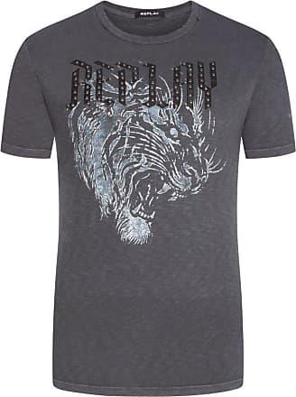 Replay Übergröße : Replay, T-Shirt mit Nieten-Schriftzug in Anthrazit für Herren