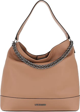 Love Moschino Shoulder Bag Natural Grain Leather Camel Hobo Bags bruin
